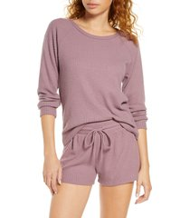 women's bp. snuggle up thermal short pajamas, size x-small - purple