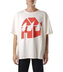 j.w. anderson white and red cotton jwa x dw t-shirt