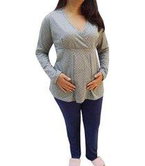 pijama linda gestante longo gestante e maternidade blusa poá feminino - feminino
