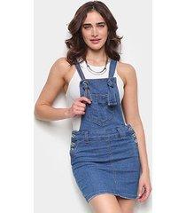 macacão jeans biotipo jardineira feminino - feminino