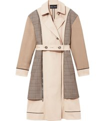 proenza schouler belted plaid detail trench coat - brown