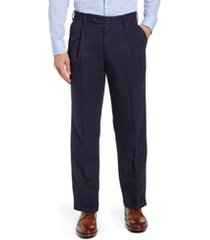 men's berle classic fit pleated microfiber performance trousers, size 31 - blue