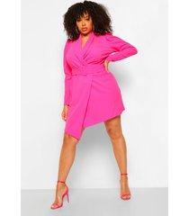 blazer jurk plus met riem, hot pink