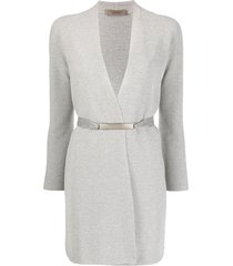 d.exterior belted wrap cardigan - silver