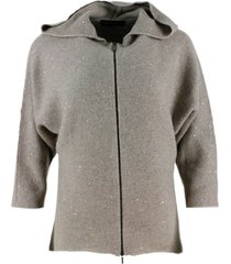fabiana filippi long-sleeved cardigan sweater with zip closure with hood in wool blend with micro-sequins applied