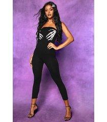 bandeau jumpsuit met skelethand voor halloween, zwart