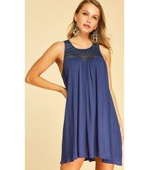 yoins cordón de crochet azul marino adornado redondo cuello sin mangas vestido