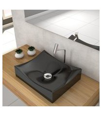 cuba de apoio para banheiro compace milla m44w retangular preta