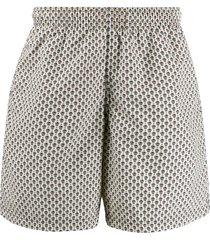 alexander mcqueen contrasting skull print swim shorts - neutrals