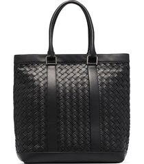 bottega veneta large intrecciato maxi weave tote bag - black
