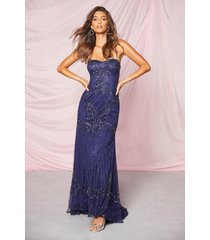 bridesmaid bandeau hand embellished maxi dress, navy