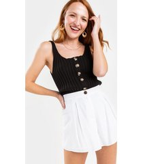 diana button front shorts - white