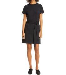 women's vince tie waist cotton t-shirt dress, size large - blue