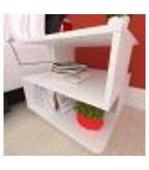 mesa de cabeceira nichos modernos, em mdf branco