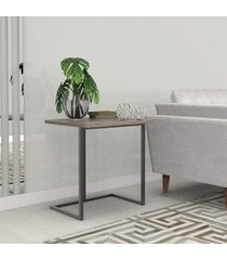 mesa lateral 55 cm preto madeirado escuro mdf lilies móveis