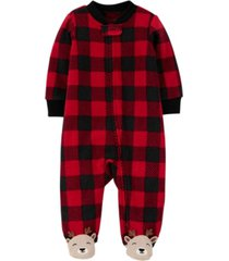 carter's baby boy 1-piece buffalo check fleece footie pjs