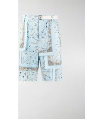 sacai paisley-print corduroy shorts