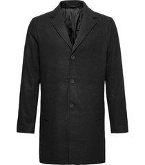 6209615, jacket - sdfayette fauxwoo wollen jas lange jas zwart solid