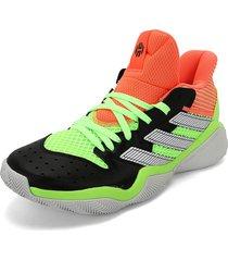 tenis basketball negro-blanco-verde-naranja adidas performance harden stepback