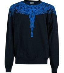 marcelo burlon pictorial wings knit boxy sweatshirt