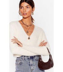 womens button-down for whatever fluffy knit cardigan - cream