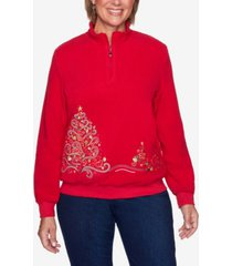 alfred dunner women's plus size classics tree embroidered pullover top