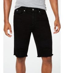 guess men's slim fit denim moto shorts