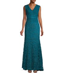cap sleeve metallic lace gown