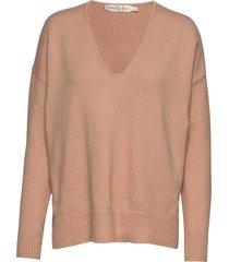 mandieiw v-neck pullover gebreide trui roze inwear