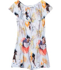 short jumpsuit with horses of the sea print