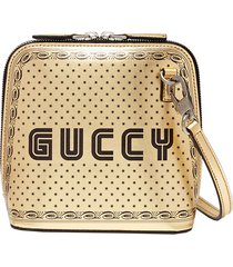 'guccy' logo print mini leather crossbody bag