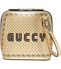 'guccy' logo print mini leather crossbody bag