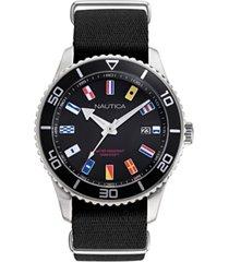 nautica men's pacific beach black, silver-tone watch box set, fabric and silicone straps 44mm