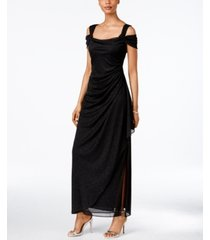 alex evenings cold-shoulder draped metallic petite gown