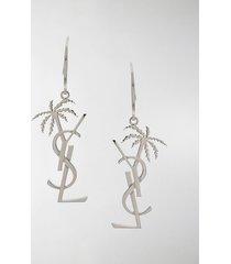 saint laurent monogram and palm tree pendant earring