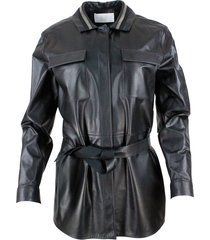 fabiana filippi leather shirt jacket with button closure, with belt and with monile on the collar