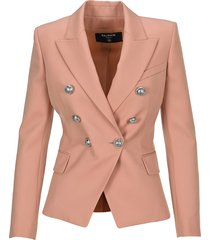balmain double-breasted blazer with silver buttons