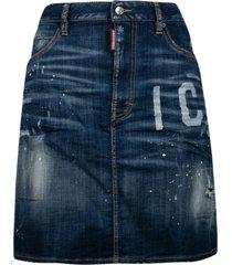 dsquared2 icon print distressed flared denim skirt