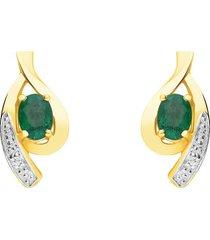 orecchini a lobo in oro giallo con smeraldi 0,4 ct e diamanti 0,0066 ct per donna