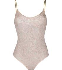 forte forte lace scoop neck bodysuit - neutrals