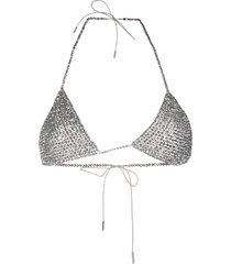 alanui glass bead bikini top - silver