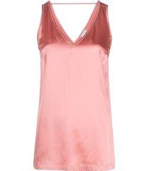 brunello cucinelli satin v-neck vest top - pink
