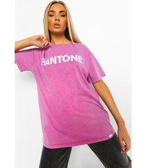 acid wash gebleekt pantone t-shirt met tekst, gewassen roze