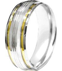 aliança prata mil abaulada riscada de prata c/ filete de ouro prata