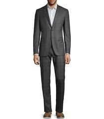 plaid slim-fit wool suit
