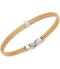 18k gold & stainless steel diamond rope bangle bracelet