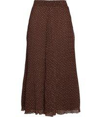 pleated georgette knälång kjol brun ganni