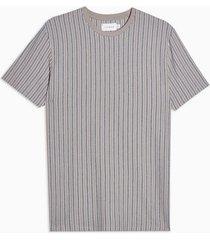 mens beige stone waffle stripe t-shirt