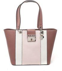 bolso rosa mauve-blanco-rosado guess