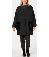 dkny plus size faux-fur-pocket walker coat
